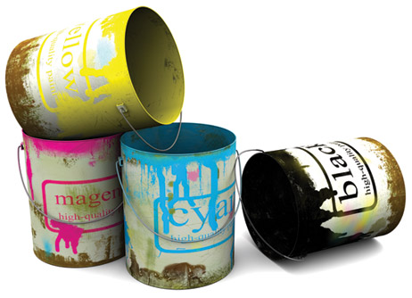 Fierce Print and design CMYK Paint Buckets